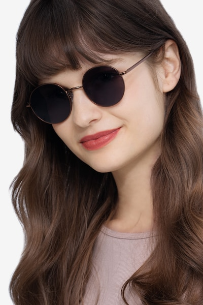Sun Synapse Brown Metal Sunglass Frames for Women from EyeBuyDirect