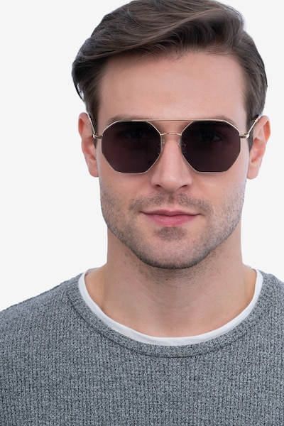 Sun Eight Golden Metal Sunglass Frames for Men from EyeBuyDirect