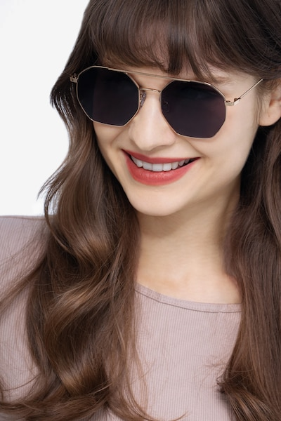 Sun Eight Golden Metal Sunglass Frames for Women from EyeBuyDirect