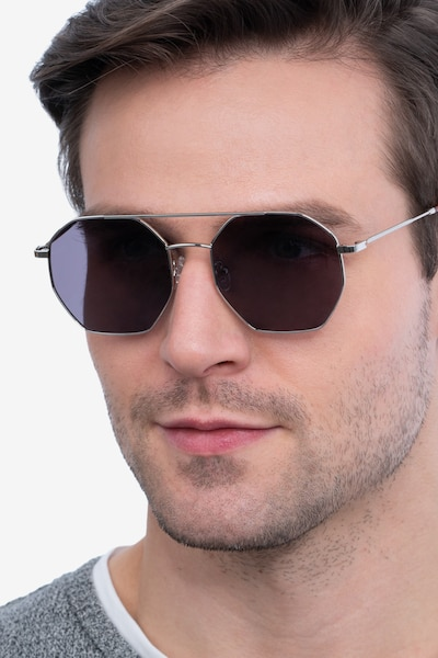 Sun Eight Silver Metal Sunglass Frames for Men from EyeBuyDirect