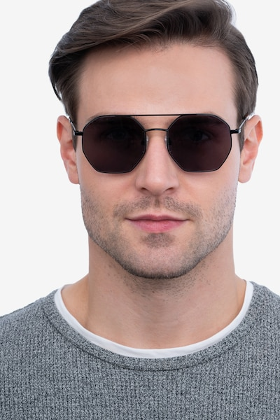 Sun Eight Black Metal Sunglass Frames for Men from EyeBuyDirect