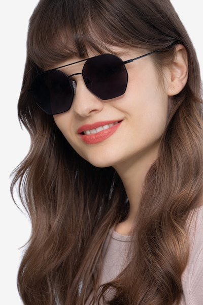 Sun Eight Black Metal Sunglass Frames for Women from EyeBuyDirect