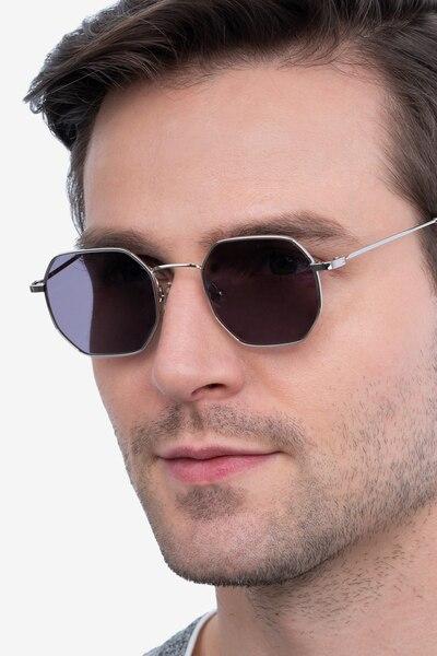 Sun Soar Silver Metal Sunglass Frames for Men from EyeBuyDirect