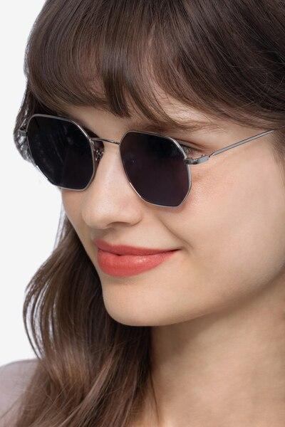 Sun Soar Silver Metal Sunglass Frames for Women from EyeBuyDirect