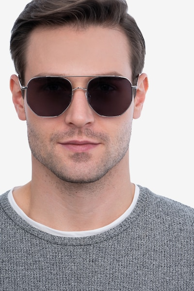 Impossible Silver Metal Sunglass Frames for Men from EyeBuyDirect, Front View