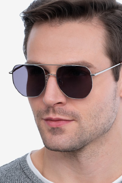 Impossible Silver Metal Sunglass Frames for Men from EyeBuyDirect