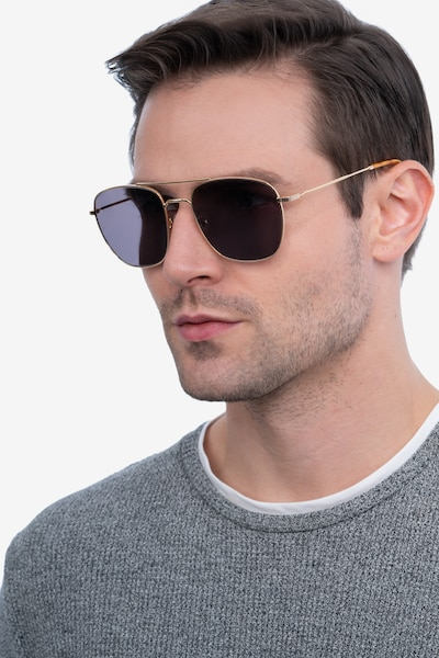 Seeker Golden Metal Sunglass Frames for Men from EyeBuyDirect, Front View