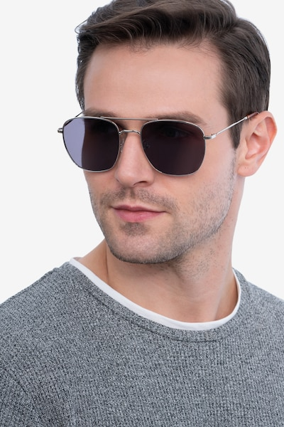 Seeker Silver Metal Sunglass Frames for Men from EyeBuyDirect, Front View