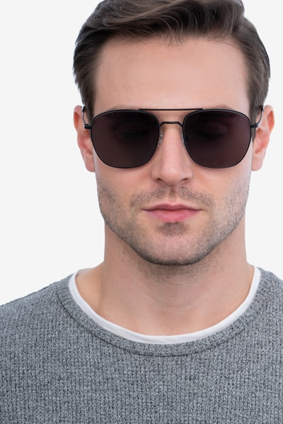 Seeker Black Metal Sunglass Frames for Men from EyeBuyDirect, Front View