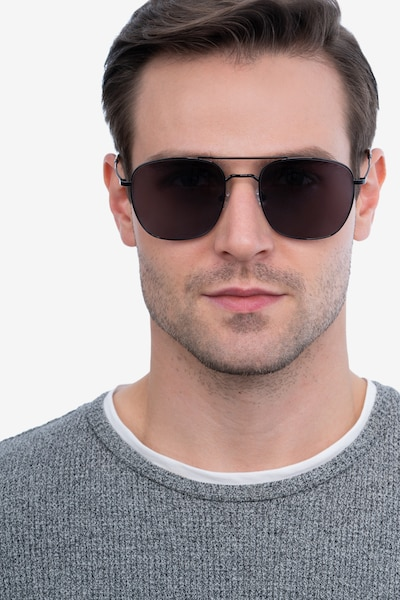 Seeker Gunmetal Metal Sunglass Frames for Men from EyeBuyDirect, Front View