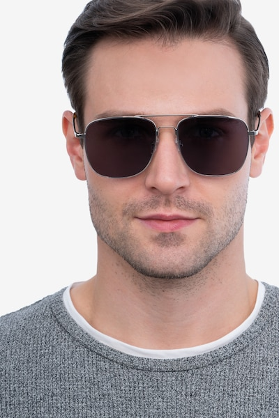 Blaze Silver Metal Sunglass Frames for Men from EyeBuyDirect, Front View