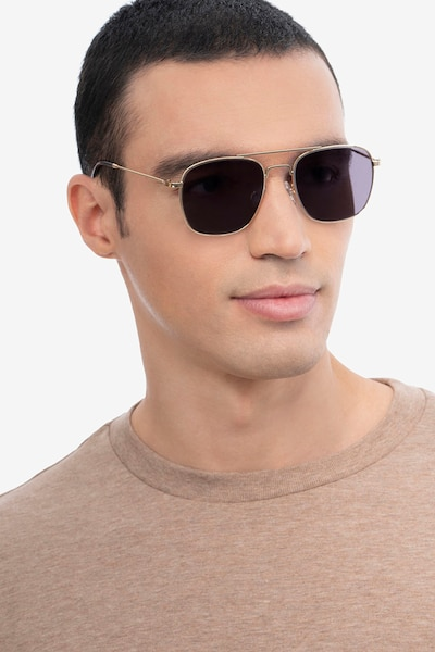 Sun Fame Golden Metal Sunglass Frames for Men from EyeBuyDirect, Front View