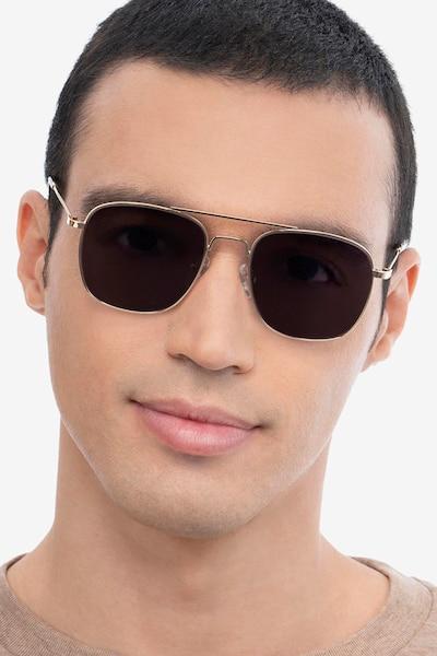 Sun Fame Golden Metal Sunglass Frames for Men from EyeBuyDirect