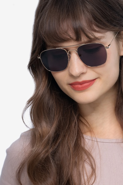 Sun Fame Golden Metal Sunglass Frames for Women from EyeBuyDirect, Front View