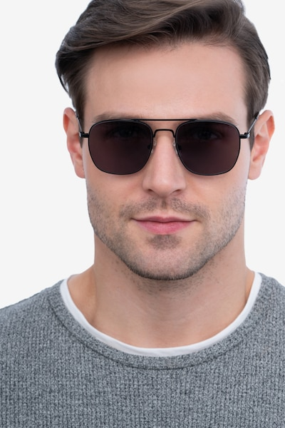 Sun Fame Black Metal Sunglass Frames for Men from EyeBuyDirect, Front View