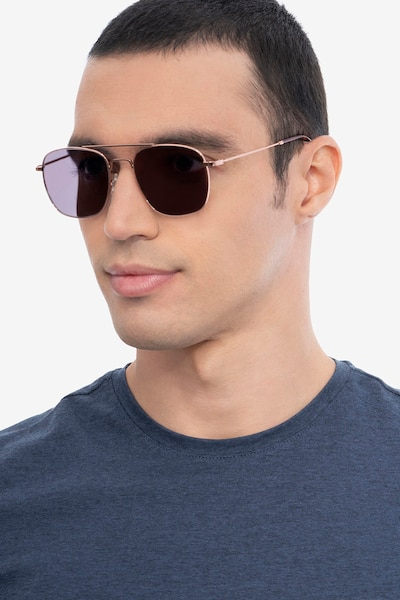 Sun Fame Rose Gold Metal Sunglass Frames for Men from EyeBuyDirect, Front View