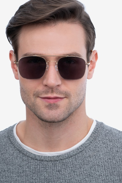 Itza Golden Metal Sunglass Frames for Men from EyeBuyDirect, Front View