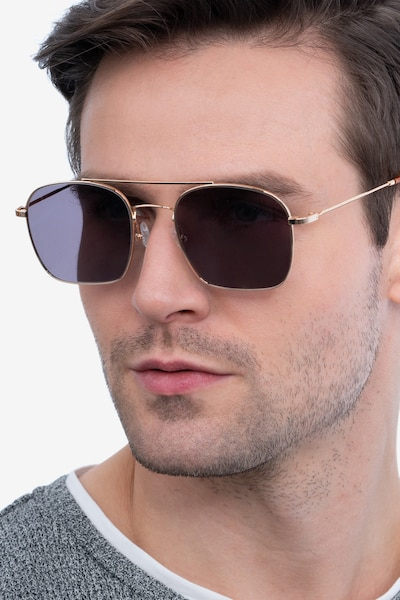 Itza Golden Metal Sunglass Frames for Men from EyeBuyDirect