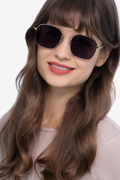 Itza Golden Metal Sunglass Frames for Women from EyeBuyDirect, Front View