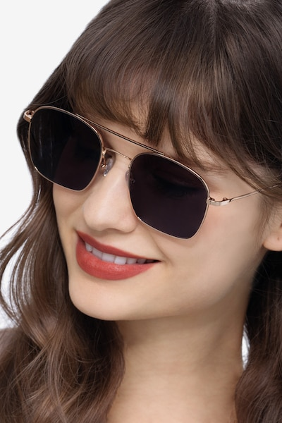 Itza Golden Metal Sunglass Frames for Women from EyeBuyDirect