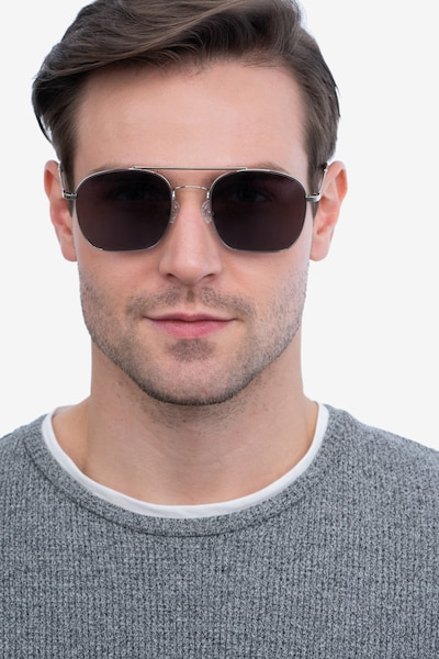 Itza Silver Metal Sunglass Frames for Men from EyeBuyDirect, Front View