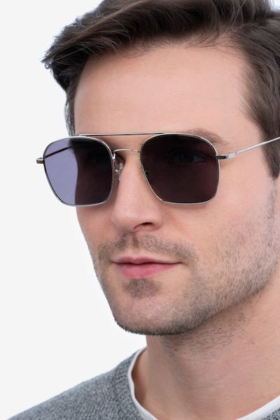 Itza Silver Metal Sunglass Frames for Men from EyeBuyDirect