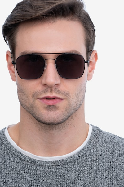 Itza Black Metal Sunglass Frames for Men from EyeBuyDirect, Front View