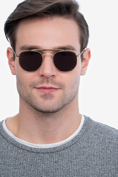 Venture Golden Metal Sunglass Frames for Men from EyeBuyDirect, Front View