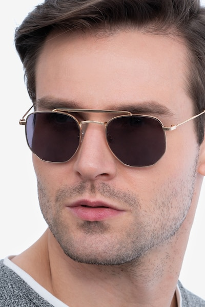 Venture Golden Metal Sunglass Frames for Men from EyeBuyDirect