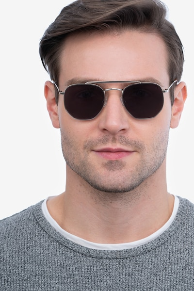 Venture Silver Metal Sunglass Frames for Men from EyeBuyDirect, Front View