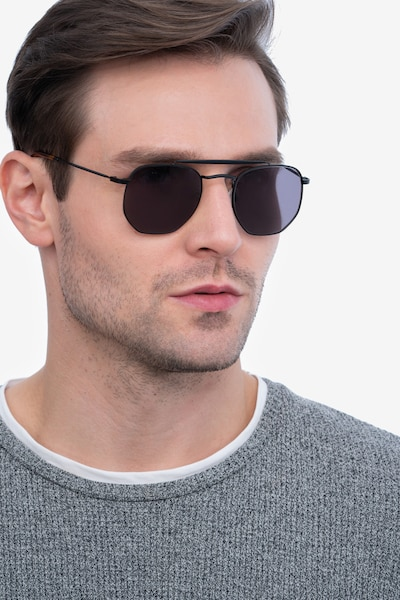 Venture Black Metal Sunglass Frames for Men from EyeBuyDirect, Front View