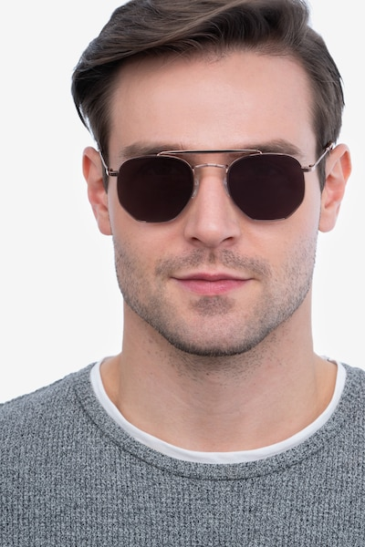 Venture Rose Gold Metal Sunglass Frames for Men from EyeBuyDirect, Front View