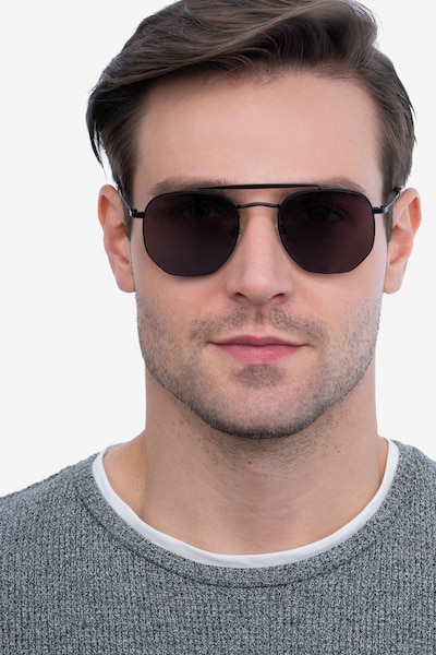 Venture Black Metal Sunglass Frames for Men from EyeBuyDirect