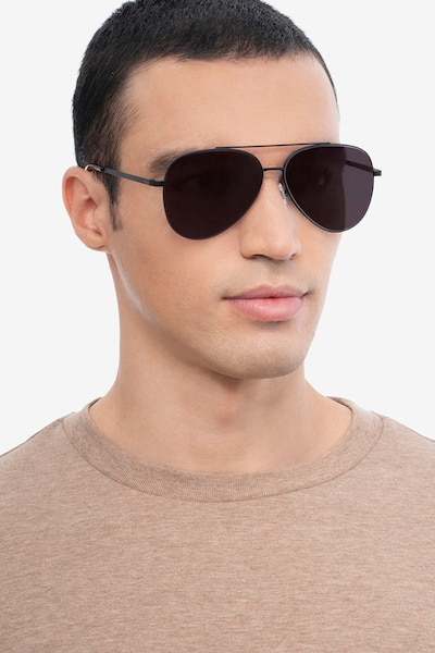 Flier Black Metal Sunglass Frames for Men from EyeBuyDirect, Front View