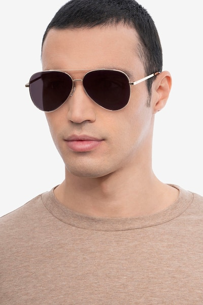Flier Golden Metal Sunglass Frames for Men from EyeBuyDirect, Front View