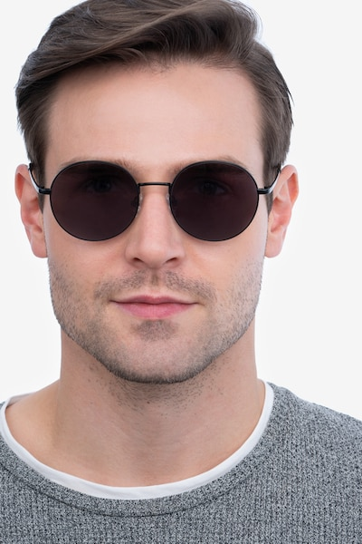 Solbada Black Metal Sunglass Frames for Men from EyeBuyDirect, Front View