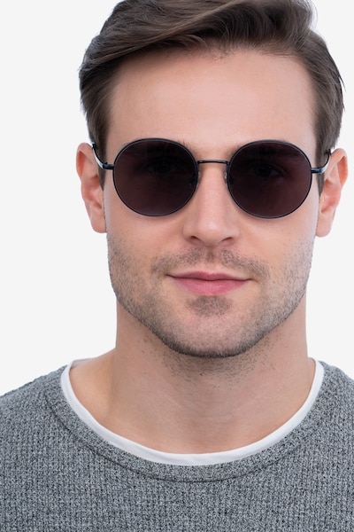 Solbada Navy Metal Sunglass Frames for Men from EyeBuyDirect