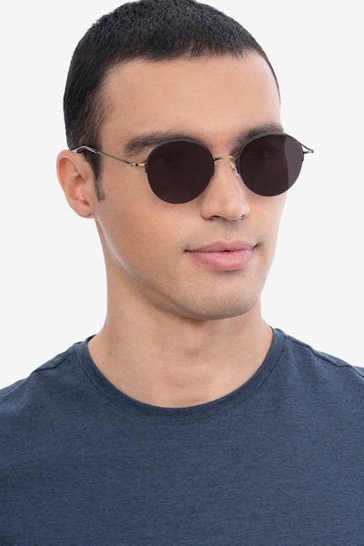 Sun Albee Black Bronze Metal Sunglass Frames for Men from EyeBuyDirect, Front View