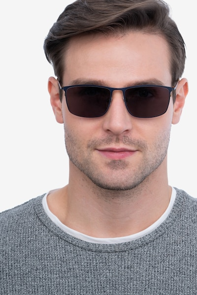 Sun Typha Navy Metal Sunglass Frames for Men from EyeBuyDirect, Front View