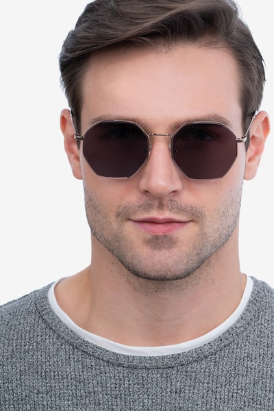 SUN OCTAVE Rose Gold Metal Sunglass Frames for Men from EyeBuyDirect, Front View
