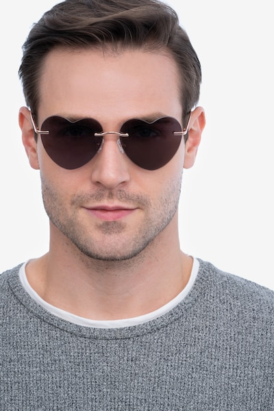 Sun Amore Rose Gold Metal Sunglass Frames for Men from EyeBuyDirect, Front View