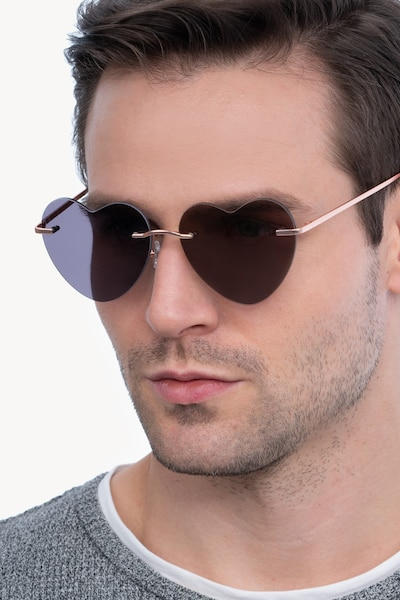 Sun Amore Rose Gold Metal Sunglass Frames for Men from EyeBuyDirect