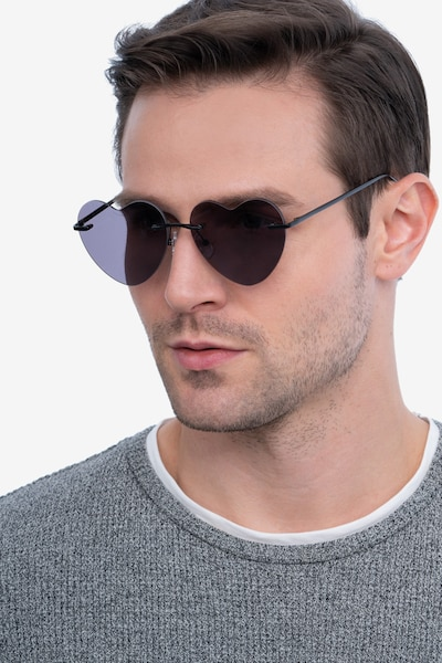 Sun Amore Black Metal Sunglass Frames for Men from EyeBuyDirect, Front View