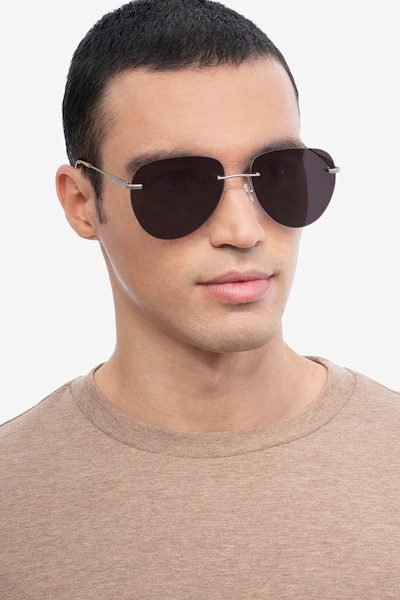Martin Matte Silver Metal Sunglass Frames for Men from EyeBuyDirect, Front View