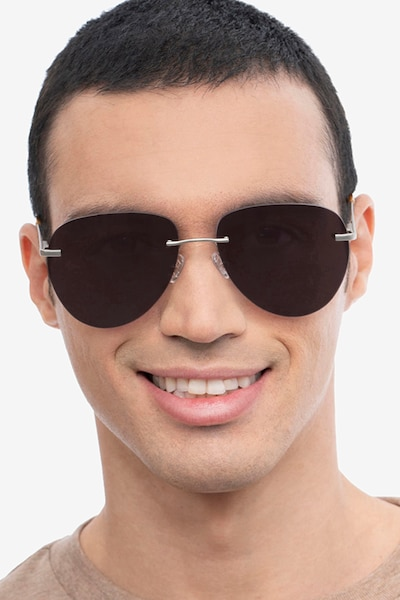 Martin Matte Silver Metal Sunglass Frames for Men from EyeBuyDirect