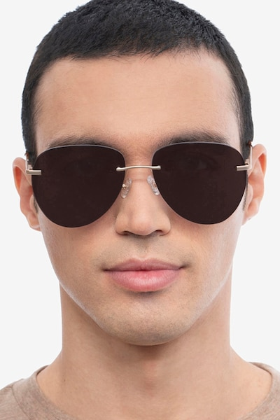 Martin Matte Gold Metal Sunglass Frames for Men from EyeBuyDirect