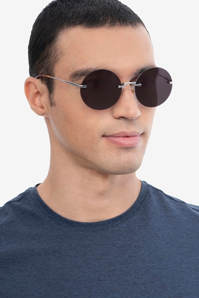 Wise Silver Metal Sunglass Frames for Men from EyeBuyDirect, Front View