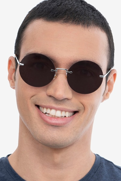 Wise Silver Metal Sunglass Frames for Men from EyeBuyDirect