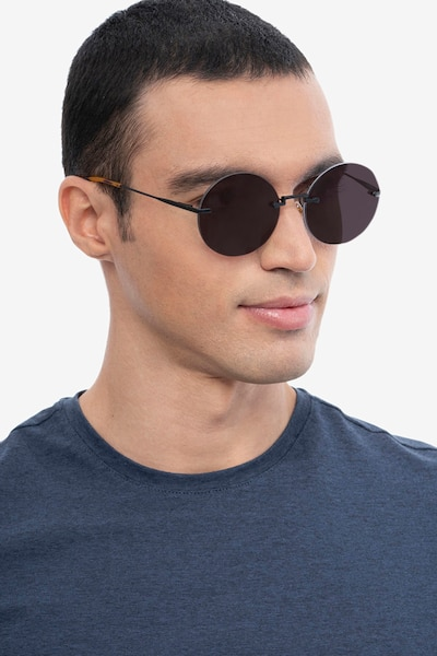 Wise Black Metal Sunglass Frames for Men from EyeBuyDirect, Front View