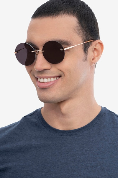 Chorus Rose Gold Metal Sunglass Frames for Men from EyeBuyDirect, Front View
